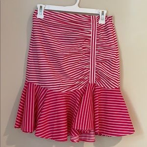 Zara pink and white stripes ruffled skirt sz small